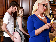 Dolly partied too hard and her Boyfriend had to carry her home. Her step mother Alura noticed what a cute youthful stud he was, and decided to thank him with a BJ. This went on for days, and eventually Dolly caught on, and joined in.